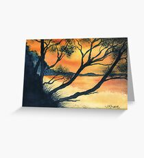 Sunset Silhouette at Squeaking Point Tasmania Greeting Card