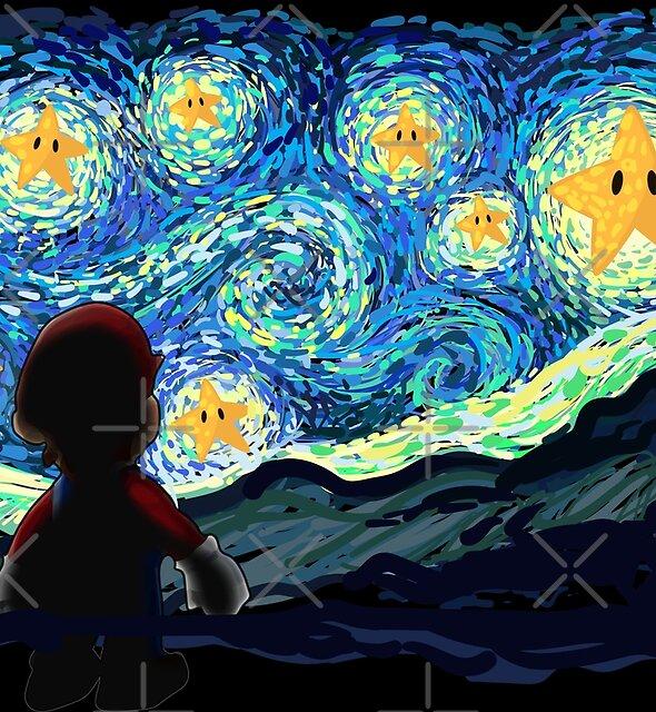 An Original Starry Night Painting Gamer Parody by DesIndie