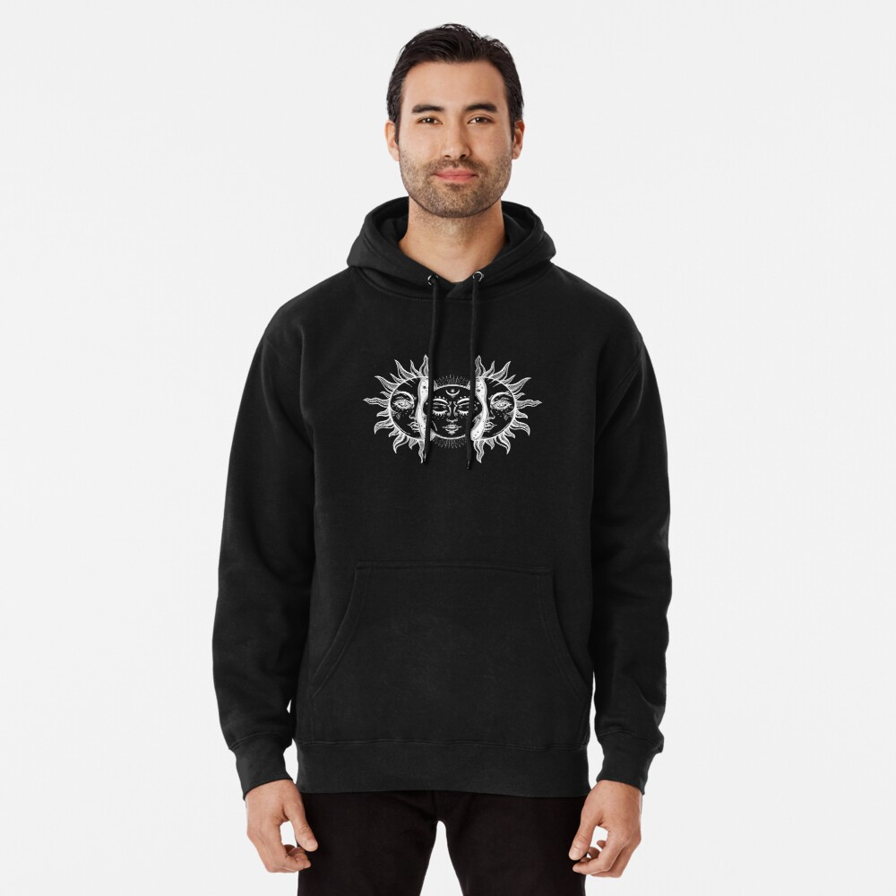 Vintage Sun and Moon Solar Eclipse Pullover Hoodie