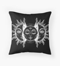 Vintage Sun and Moon Solar Eclipse Throw Pillow