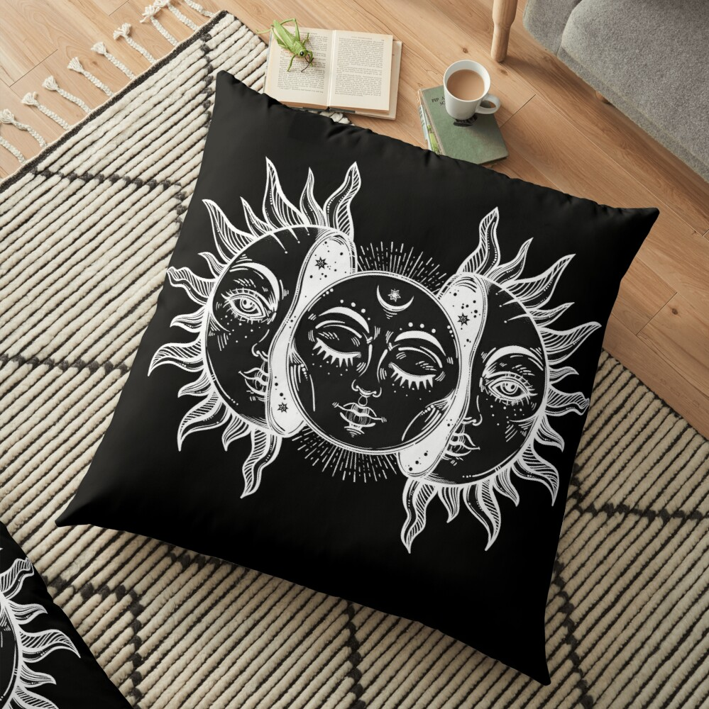 Vintage Sun and Moon Solar Eclipse Floor Pillow