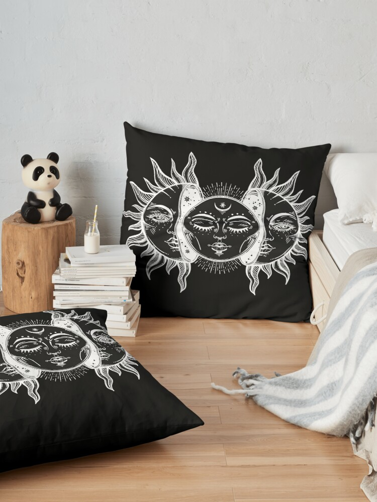 Alternate view of Vintage Sun and Moon Solar Eclipse Floor Pillow