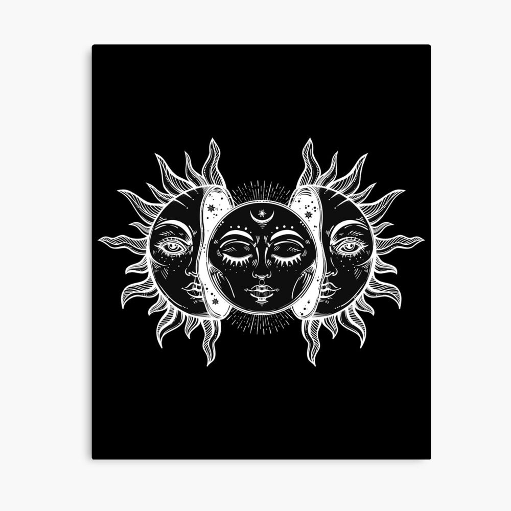 Vintage Sun and Moon Solar Eclipse Canvas Print
