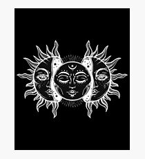Vintage Sun and Moon Solar Eclipse Photographic Print