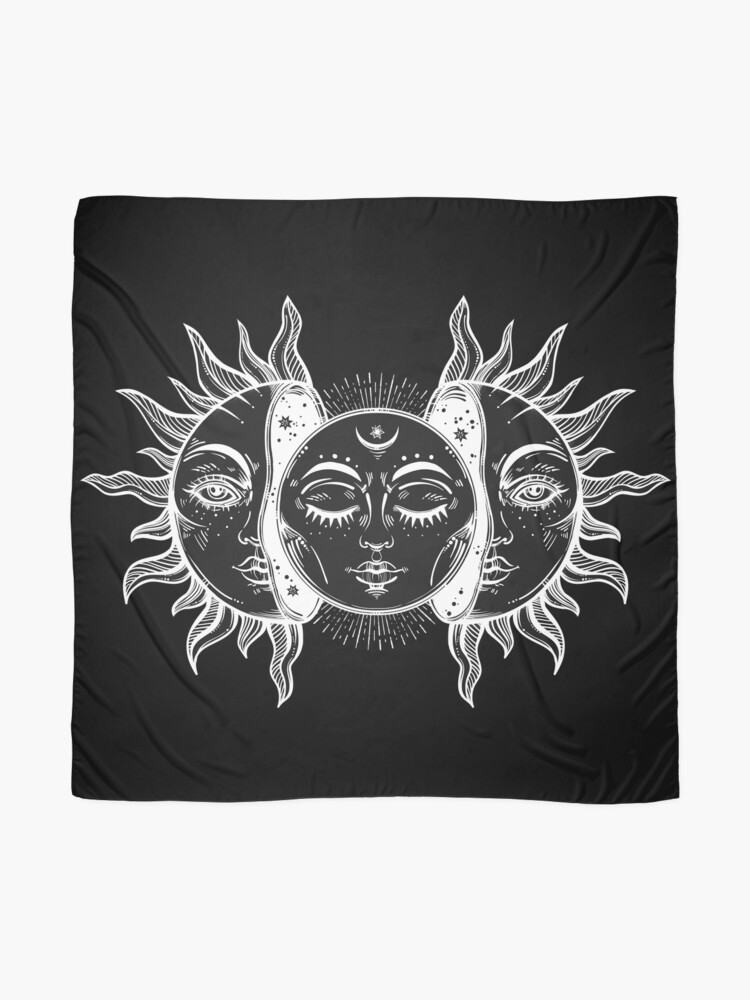 Alternate view of Vintage Sun and Moon Solar Eclipse Scarf