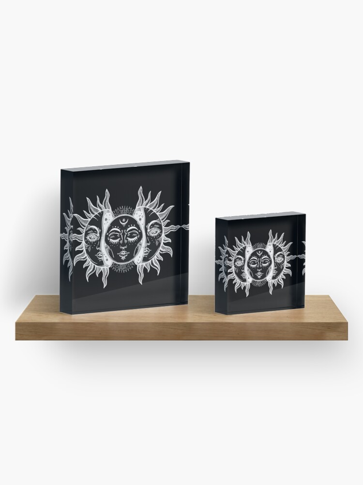 Alternate view of Vintage Sun and Moon Solar Eclipse Acrylic Block