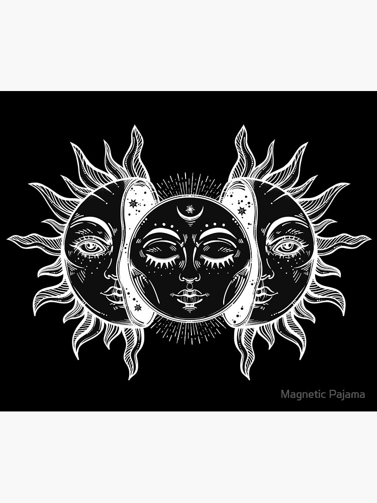 Vintage Sun and Moon Solar Eclipse by MagneticMama