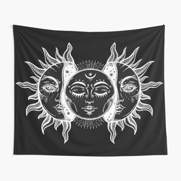 Vintage Sun and Moon Solar Eclipse Tapestry