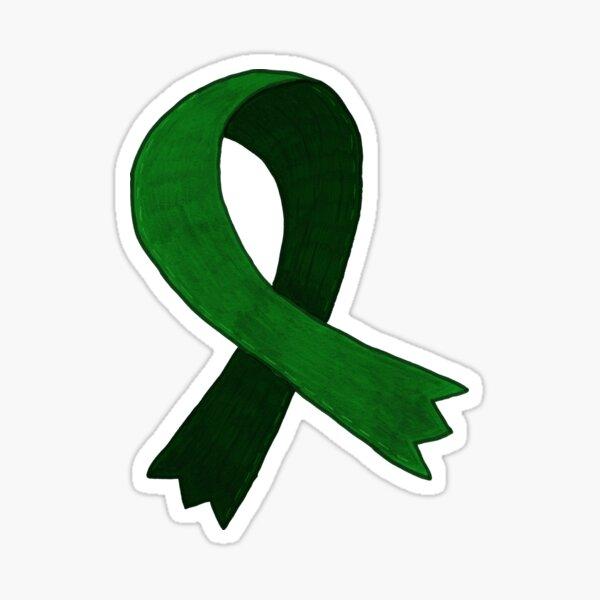 Dark Green Awareness Ribbon Sticker