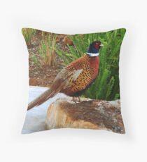 Mongolian Ringnek Pheasant Throw Pillow