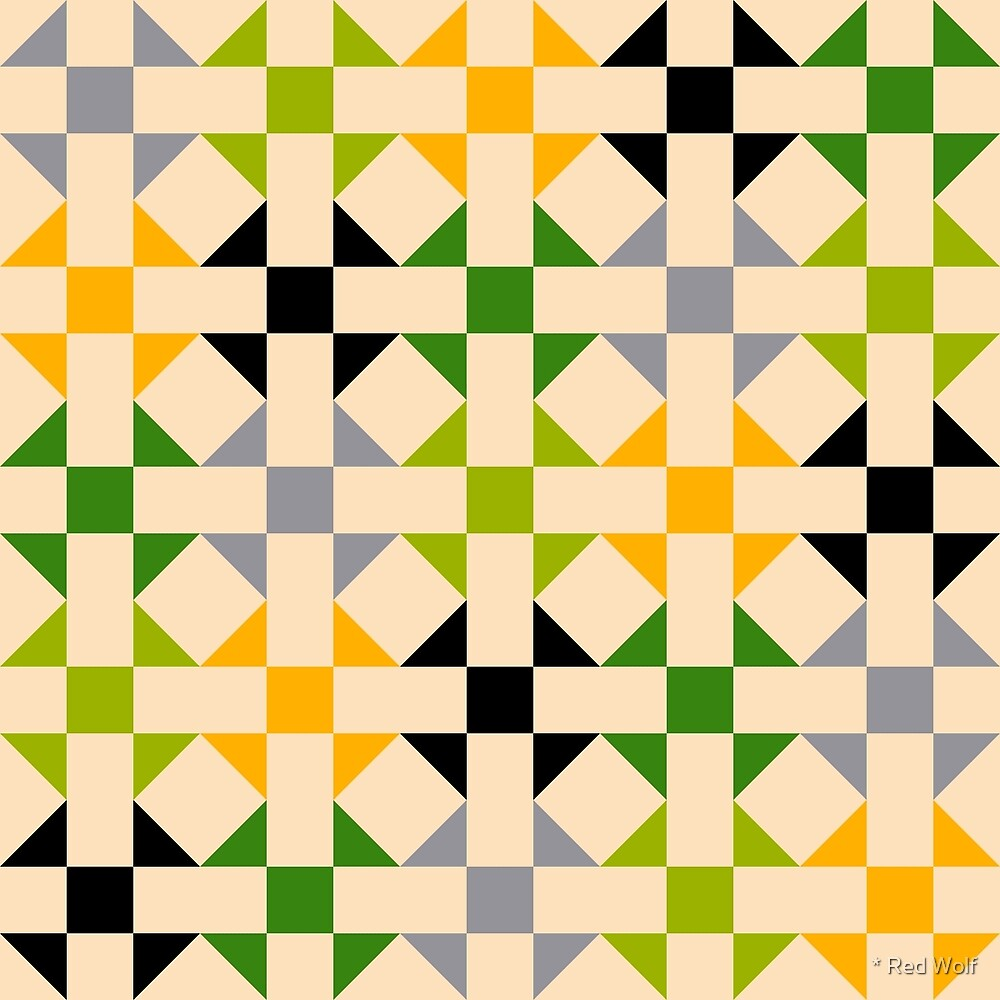 Geometric Pattern: Quilt: Spring by * Red Wolf
