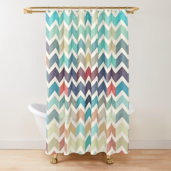 Watercolor Chevron Pattern Shower Curtain