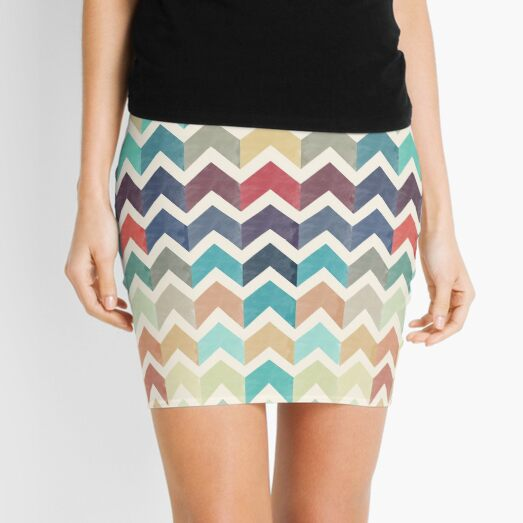 Watercolor Chevron Pattern Mini Skirt