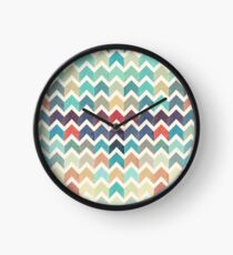 Watercolor Chevron Pattern Clock