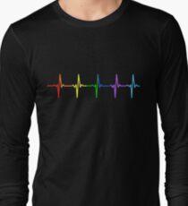 Rainbow Pulse Hearbeat LGBT Long Sleeve T-Shirt