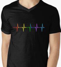 Rainbow Pulse Hearbeat LGBT Men's V-Neck T-Shirt