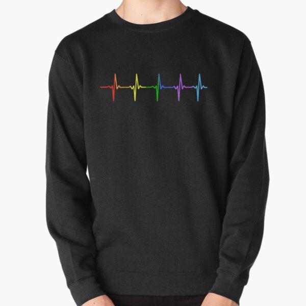 Rainbow Pulse Hearbeat LGBT Pullover Sweatshirt