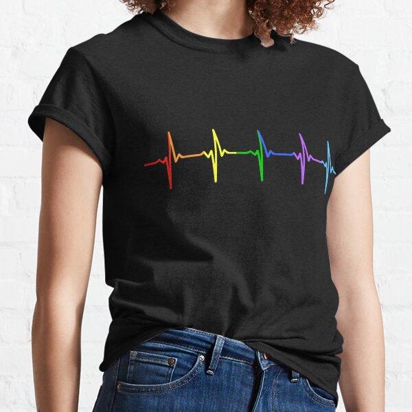 Rainbow Pulse Hearbeat LGBT Camiseta clásica
