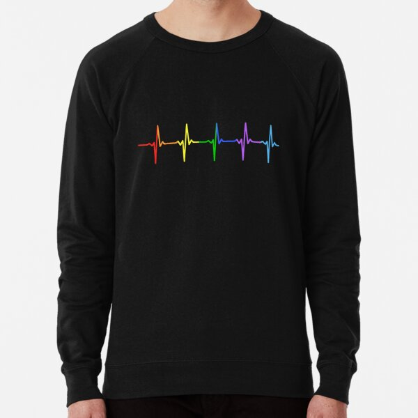 Rainbow Pulse Hearbeat LGBT Lightweight Sweatshirt