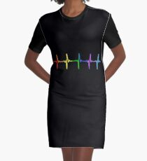 Rainbow Pulse Hearbeat LGBT Graphic T-Shirt Dress