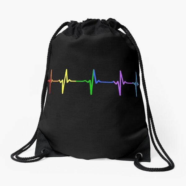 Rainbow Pulse Hearbeat LGBT Drawstring Bag
