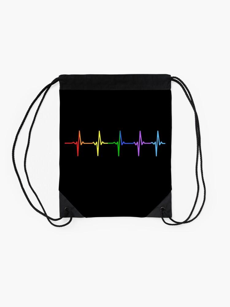 Alternate view of Rainbow Pulse Hearbeat LGBT Drawstring Bag