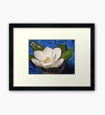 Magnolia on Blue Framed Print