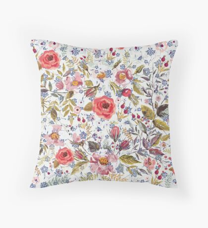 Sea of Floral Throw Pillow