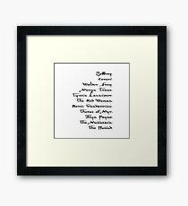 Arya Stark List Framed Print