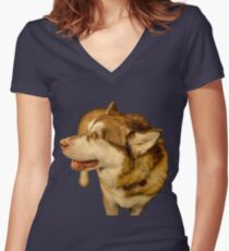 Malamute 02 Women's Fitted V-Neck T-Shirt
