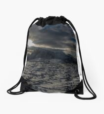 Sunburst over Buachaille Etive Mhor , Glencoe, Lochaber , Scotland Drawstring Bag