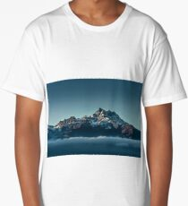 Beautiful alpine peaks view from the top over the clouds Long T-Shirt