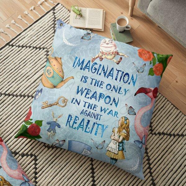 Alice In Wonderland - Imagination Quote Floor Pillow