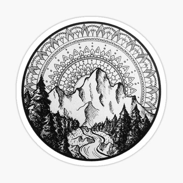 Mandala de montaña Pegatina