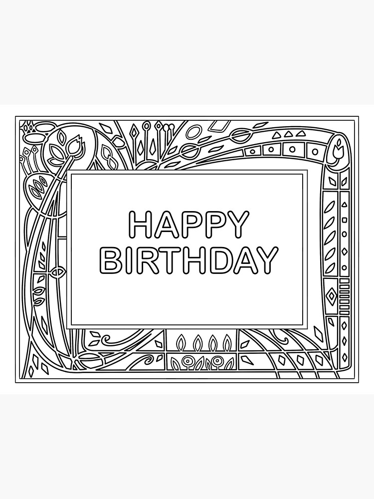 - Happy Birthday Coloring Greeting Card