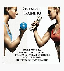 Strength Training Benefits - Women's Fitness Infographic Photographic Print