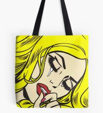 Blonde Crying Comic Girl Tote Bag