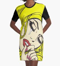 Blonde Crying Comic Girl Graphic T-Shirt Dress