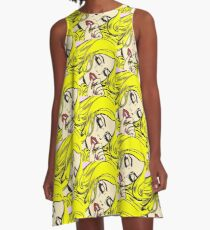 Blonde Crying Comic Girl A-Line Dress