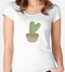 Cool Cactus In Cute Pot Women's Fitted Scoop T-Shirt