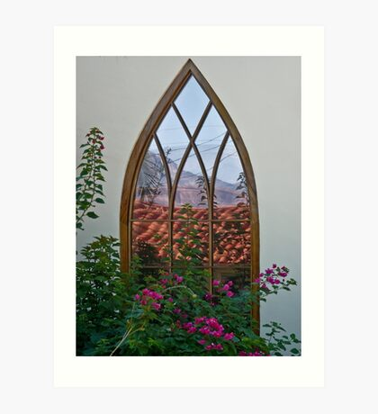 Reflections in a Hobbit window Art Print