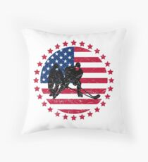 Patriotic Ice Hockey Lover Gifts – Hockey Players Shirts and Accessories Throw Pillow
