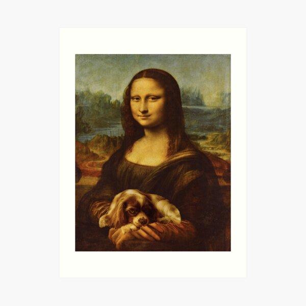 Mona Lisa and Cavalier King Charles Spaniel Dog Art Print