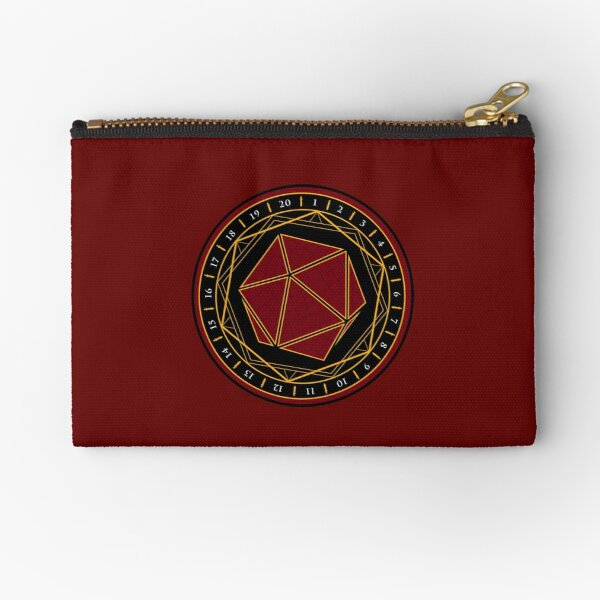 Twenty Sides of Fate (Red) Zipper Pouch