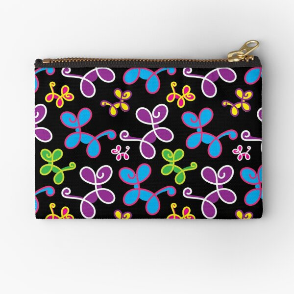 Swirly Dogs - elegant balloon dogs on black Zipper Pouch