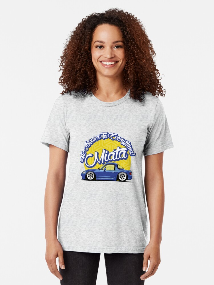 Alternate view of Miata - The Answer To Everything Tri-blend T-Shirt