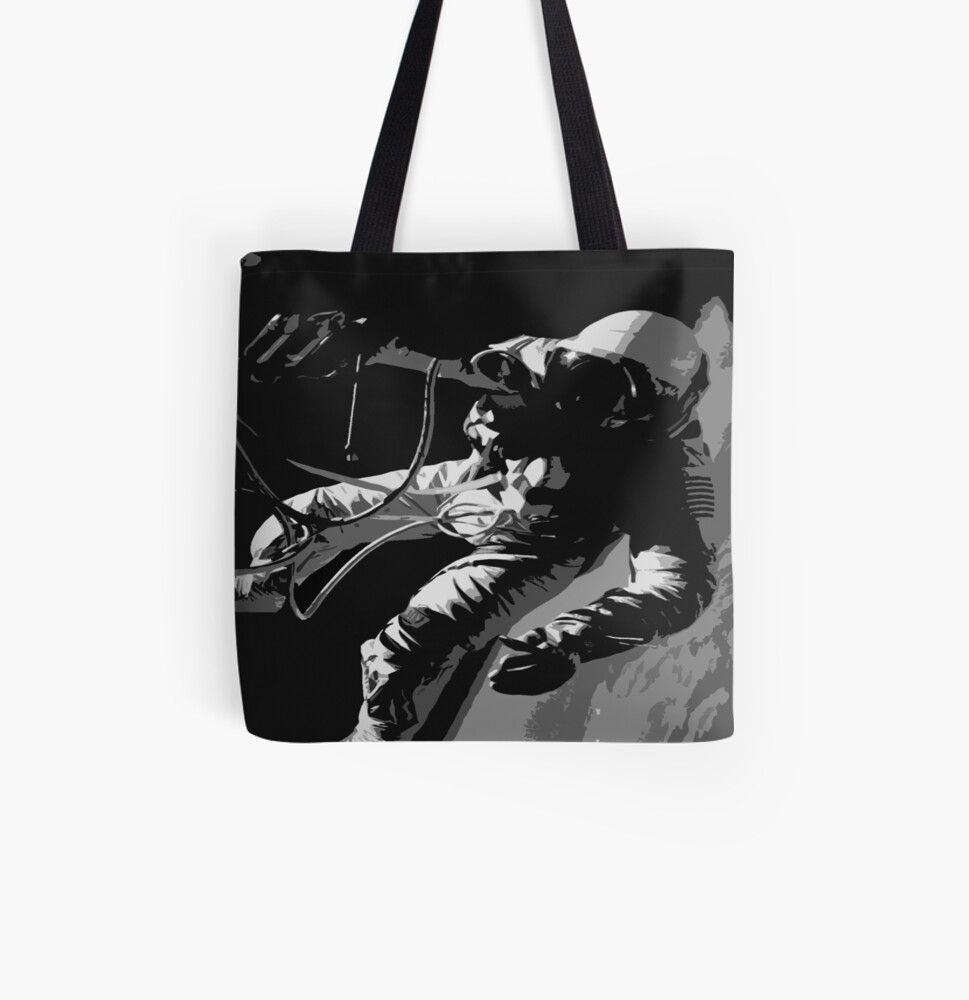Space Series : Gemini EVA 1 Abstract Black [#1] All Over Print Tote Bag
