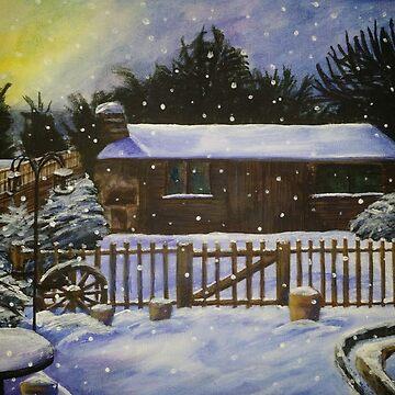 Snow Covered Garden Shed by artistwarriorlg