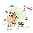 Funny Spitz Dog Sketch by Natalia Piache