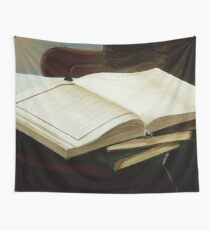 Books, acrylic on canvas Wall Tapestry